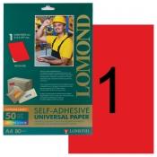 Этикетки самоклеящиеся LOMOND Красный (1 шт на листе А4, 50 листов в уп)