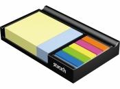 Блок самоклеящийся бумажный Stick`n 21425 200лист. 70г, м2 в подставке 76x76мм+25x76мм+закладки 5цв