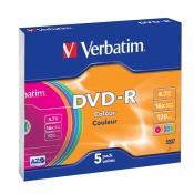 Диск DVD-R Verbatim 4,7 GB 16x (5 штук в упаковке)