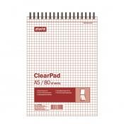 Блокнот Attache Selection Clear Pad А5 80 листов без линовки белый на спирали (145х215 мм)