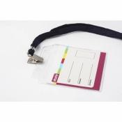 Бейджик горизонтальный Attache с металлическим зажимом и тесьмой (для карточек 100х71 мм)