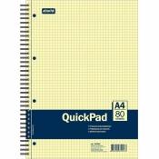 Бизнес-тетрадь QuickPad А4 80 листов желтая в клетку на спирали (220х298 мм)