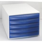 Бокс с выдвижными лотками Exacompta закрытый 5 отделений цвет серый/синий