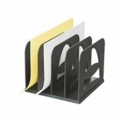Вертикальный накопитель сортер Стамм пластиковый черный ширина 210 мм 4 отделения (сборный)