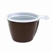 Чашка одноразовая Стиролпласт пластиковая коричневая/белая 180 мл 50 штук в упаковке