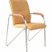 Конференц-стул Samba бежевый (искусственная кожа/бук/металл хромированный)