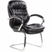 Конференц-кресло Easy Chair 515 VR на полозьях черное (рециклированная кожа/металл хромированный)