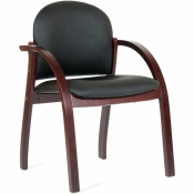 Конференц-стул Chairman 659 черный матовый (искусственная кожа/темный орех)