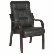 Конференц-кресло DB-700 LB черное (кожа/палисандр)