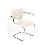 Конференц-стул Silwia Arm светло-бежевый (искусственная кожа/металл хромированный)