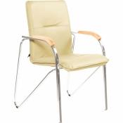 Конференц-стул Samba светло-бежевый (искусственная кожа/бук/металл серебристый)