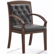 Конференц-стул Easy Chair 422 KR черный (рециклированная кожа/темный орех)