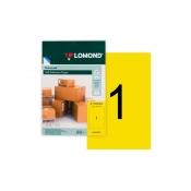Этикетки самоклеящиеся LOMOND Лимонно-жёлтая (1 шт на листе А4, 50 листов в уп)